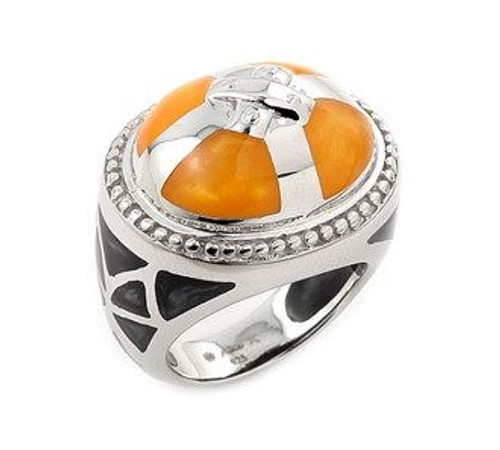 CARAMEL AND BLACK DESIGNO CROSS RING