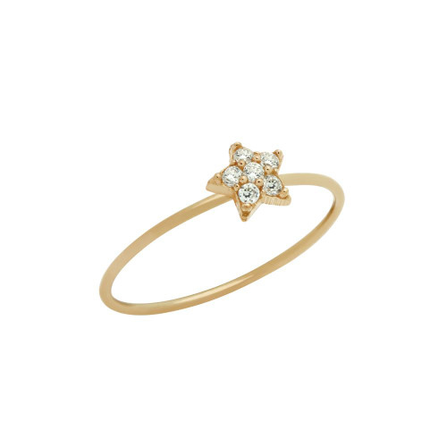 ROSE GOLD PLATED PAVE CLEAR CZ STAR STACKABLE RING