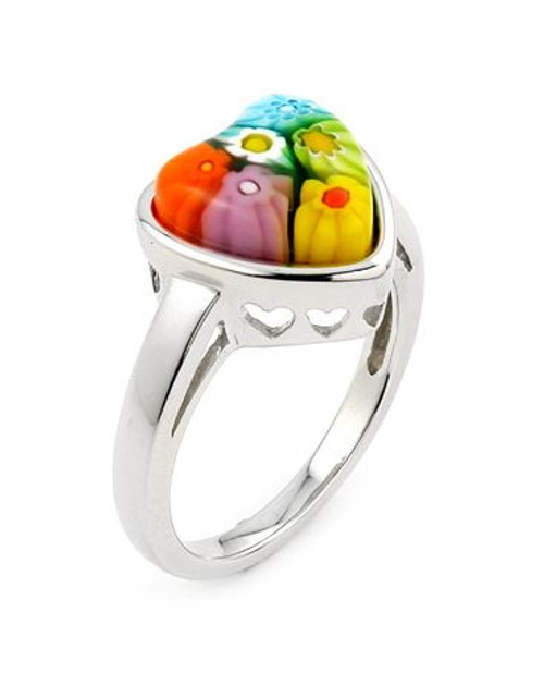 MULTICOLOR MURANO MILLEFIORI HEART SHAPED RING