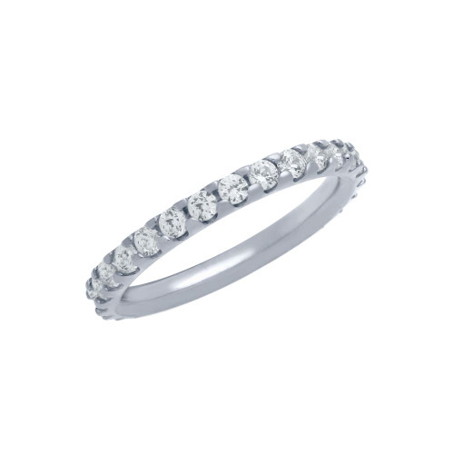 RHODIUM PLATED ETERNITY WHITE CZ LOW SETTING STACKABLE BAND RING