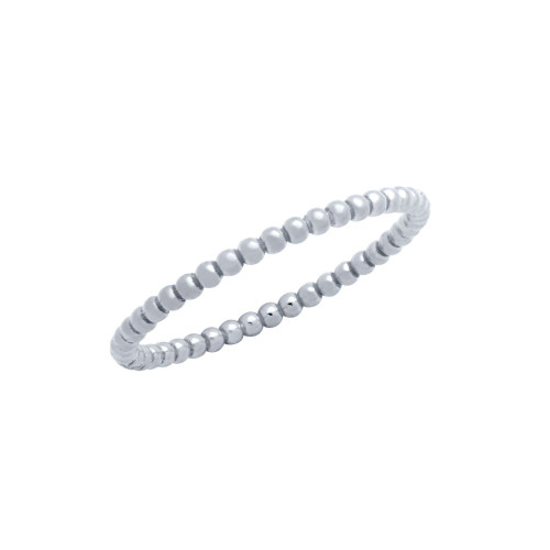 RHODIUM PLATED 1.5MM BEADED STACKABLE RING