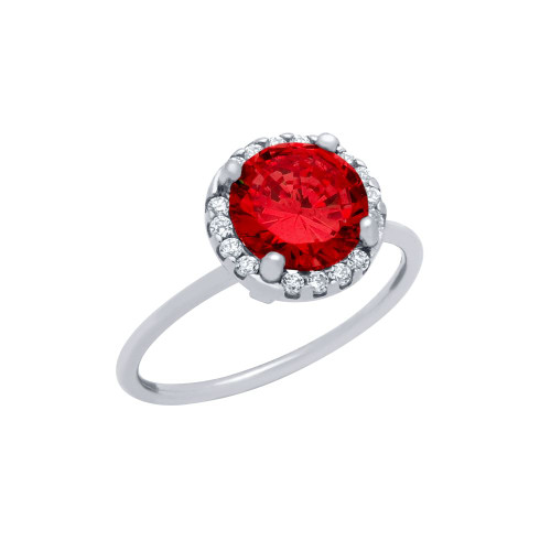 RHODIUM PLATED RED ROUND CZ RING WITH HALO SURROUNDING CLEAR CZ STONES