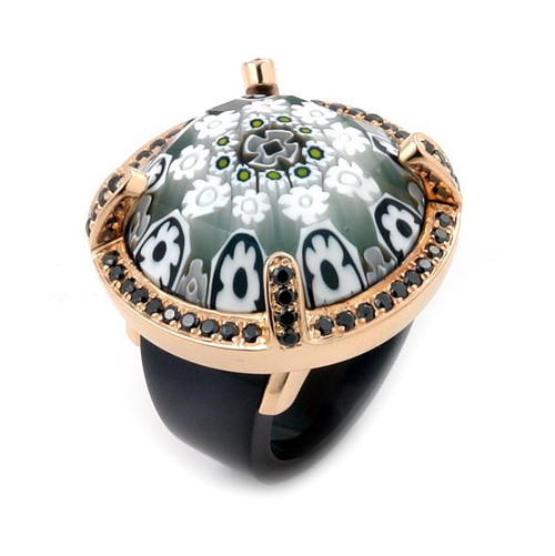 EXQUISITE COLLECTION FACETED BLK/WHT MURANO GLASS ROSE GOLD PLATED RING WITH HIGH QUALITY CZ MICROSE