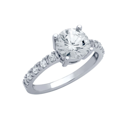 RHODIUM PLATED ROUND CZ ENGAGEMENT RING