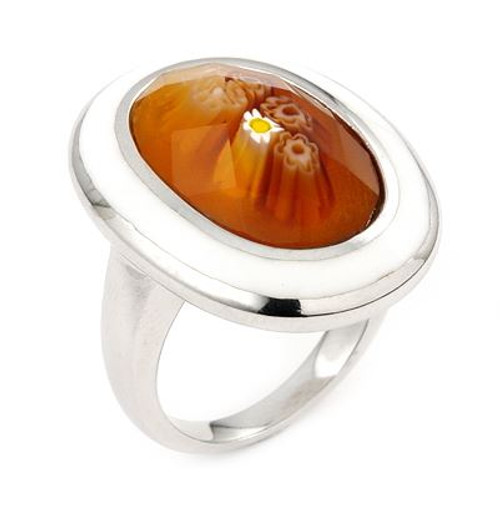 MILLACRELI BROWN FACETED OVAL RING