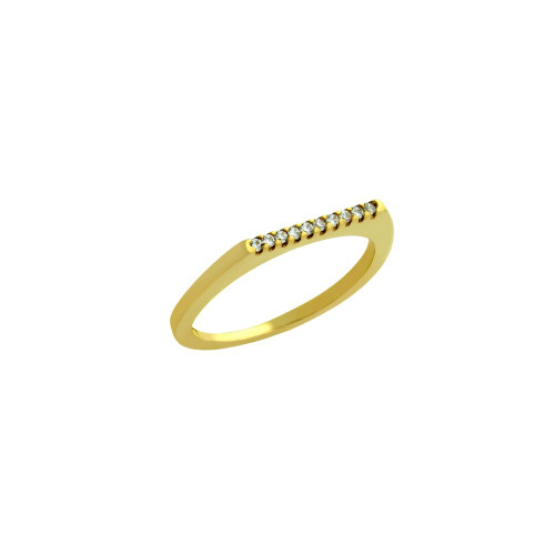 GOLD PLATED SINGLE ROW CZ KNUCKLE RING