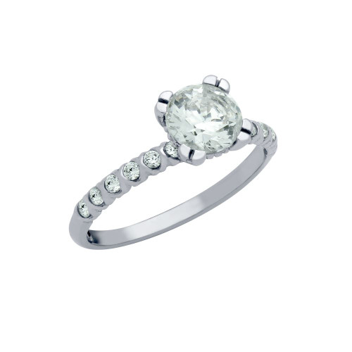RHODIUM PLATED 6.25MM ROUND CZ ENGAGEMENT RING WITH CZ SHOULDERS