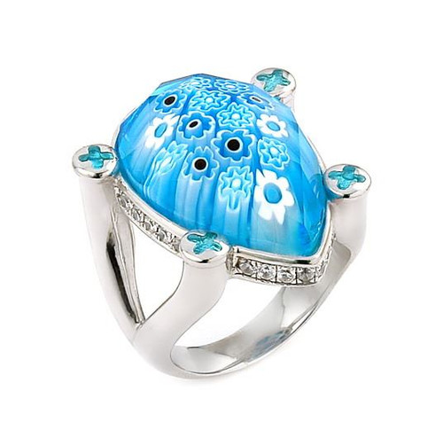 EXQUISITE COLLECTION FACETED BLUE MURANO GLASS DROP RING WITH HIGH QUALITY CZ MICROSETTING