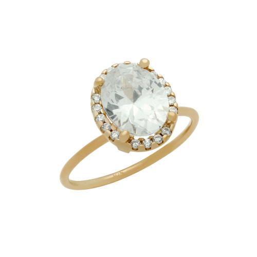 ROSE GOLD PLATED CLEAR OVAL CZ RING WITH SURROUNDING CLEAR CZ STONES