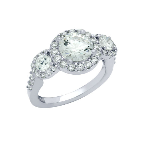 RHODIUM PLATED 3 CZ ENGAGEMENT RING WITH SURROUNDING CZS