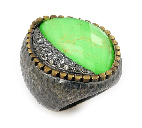 SIGNATURE AUTHENTICO GREEN TURQUOISE FACETED DEMIQUARTZ DOUBLET RING WITH BRASS AND SIGNITY CZ