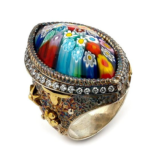 SIGNATURE COLLECTION FACETED MULTICOLOR MURANO GLASS MARQUISE RING WITH COPPER AND SIGNITY CZ ACCENT