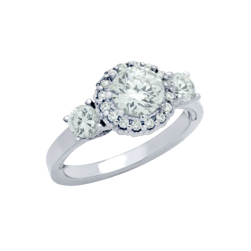 RHODIUM PLATED THREE ROUND CZ DOME DESIGN ENGAGEMENT RING