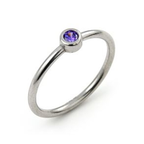 RHODIUM PLATED 3MM PURPLE SWAROVSKI CZ STACKABLE BAND RING