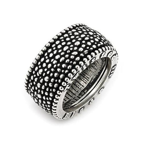 TWISTED BLADE SILVER STUDDED BAND RING