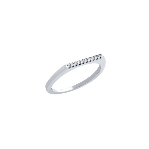 RHODIUM PLATED SINGLE ROW CZ KNUCKLE RING