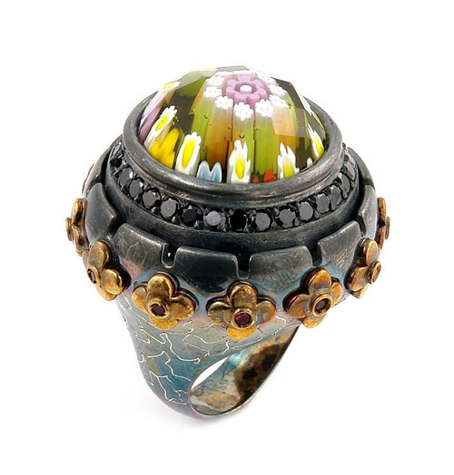 SIGNATURE COLLECTION FACETED MLT MURANO GLASS ROUND RING WITH BRASS AND SIGNITY CZ ACCENTS