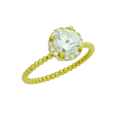 GOLD PLATED BEADED DESIGN STACKABLE ENGAGEMENT RING