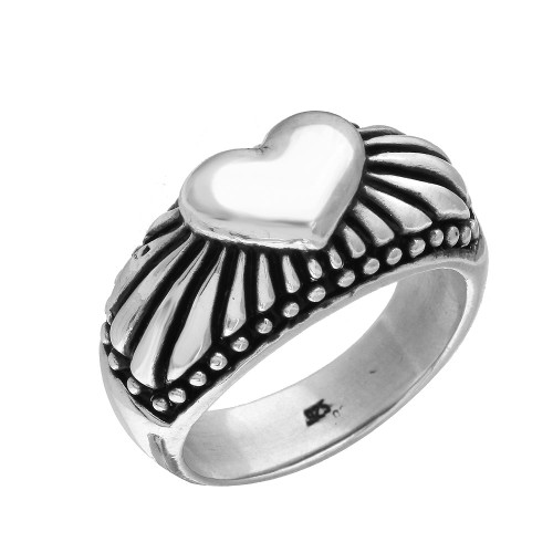 TWISTED BLADE SILVER RADIANT HEART RING