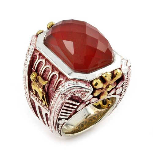 SIGNATURE AUTHENTICO RED AGATE RECTANGULAR FACETED DEMIQUARTZ DOUBLET RING WITH BRASS PLATED ACCENTS