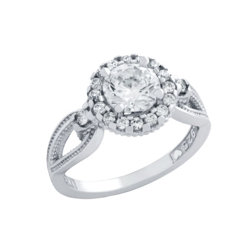 RHODIUM PLATED ROUND CZ LINKED DESIGN ENGAGEMENT RING