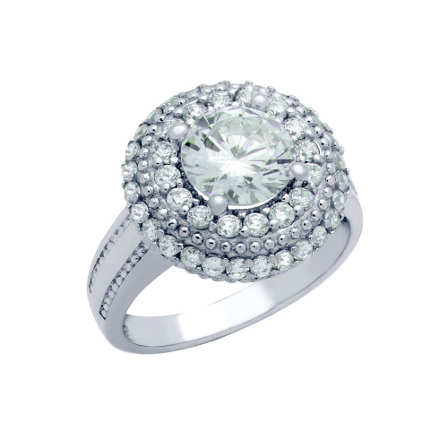RHODIUM PLATED ROUND CZ DOME STYLE ENGAGEMENT RING