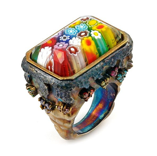 SIGNATURE COLLECTION FACETED MULTI COLOR MURANO GLASS TRIANGLE RING WITH COPPER AND SIGNITY CZ ACCEN