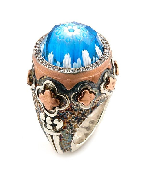 SIGNATURE COLLECTION FACETED LIGHT BLUE MURANO GLASS ROUND RING WITH COPPER AND SIGNITY CZ ACCENTS