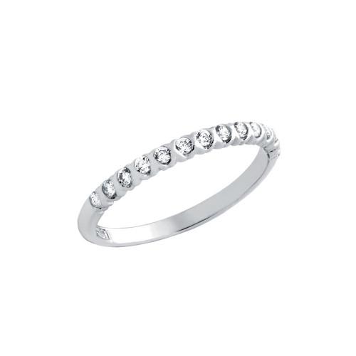 RHODIUM PLATED XO HALF CIRCULAR DESIGN CZ WEDDING BAND RING