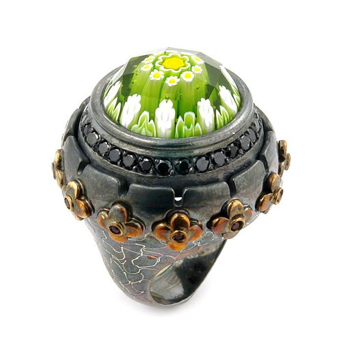 SIGNATURE COLLECTION FACETED GREEN MURANO GLASS ROUND RING WITH BRASS AND SIGNITY CZ ACCENTS