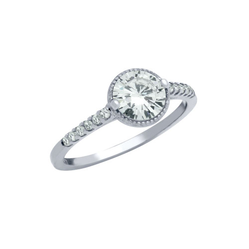 RHODIUM PLATED ROUND CZ THIN ENGAGEMENT RING