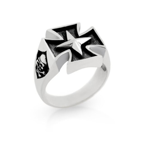 STERLING SILVER MENS MALTESE CROSS AND JOLLY ROGER RING