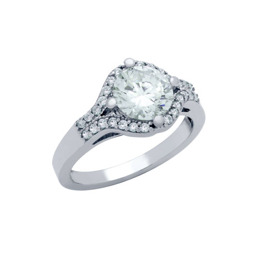 RHODIUM PLATED ROUND CZ OVAL SHAPE ENGAGEMENT RING