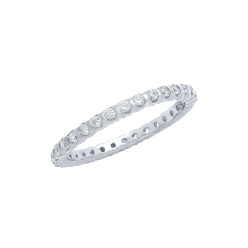 RHODIUM PLATED XO CIRCULAR DESIGN CZ WEDDING BAND RING