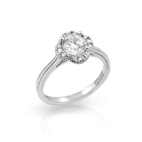 RHODIUM PLATED CLOVER DESIGN ROUND CZ ENGAGEMENT RING