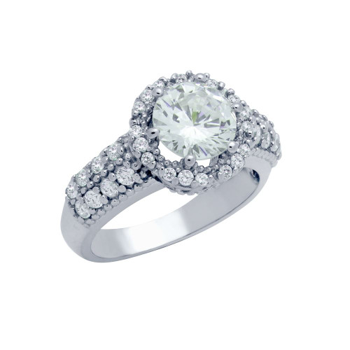 RHODIUM PLATED ROUND CZ FLORAL STYLE ENGAGEMENT RING