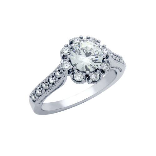 RHODIUM PLATED FLORAL DESIGN SURROUNDING CZ ENGAGEMENT RING