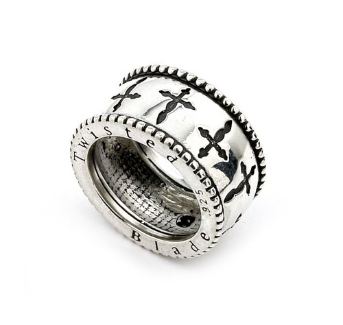 TWISTED BLADE SILVER DAGGER BAND RING