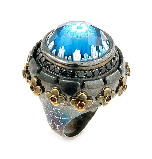 SIGNATURE COLLECTION FACETED BLUE MURANO GLASS ROUND RING WITH BRASS AND SIGNITY CZ ACCENTS