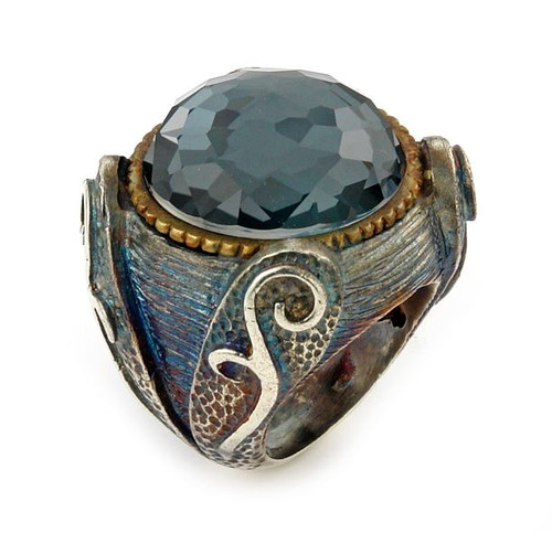 SIGNATURE AUTHENTICO HEMATITE ROUND FACETED DEMIQUARTZ DOUBLET RING WITH BRASS ACCENT