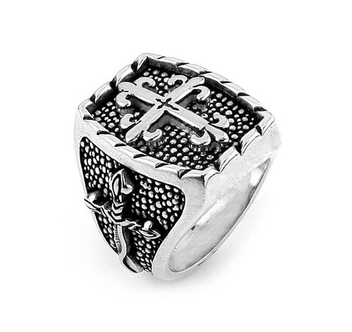 TWISTED BLADE SILVER RECTANGLE RING WITH THIN FLEUR DE LIS CROSS