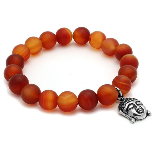 LADIES CARNELIAN CHAKRA STRETCH BRACELET WITH SILVER BUDDHA CHARM