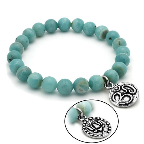 LADIES AMAZONITE CHAKRA STRETCH BRACELET WITH SILVER OM/LOTUS CHARM