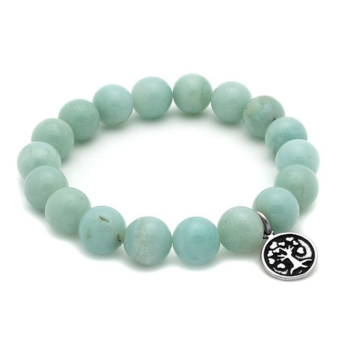 LADIES AMAZONITE CHAKRA STRETCH BRACELET WITH SILVER TREE CHARM
