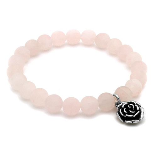 LADIES ROSE QUARTZ CHAKRA STRETCH BRACELET WITH SILVER ROSE FLOWER CHARM