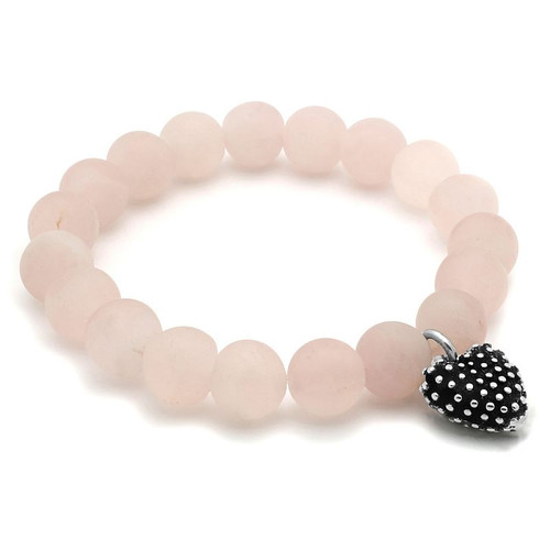 LADIES ROSE QUARTZ CHAKRA STRETCH BRACELET WITH SILVER HEART CHARM