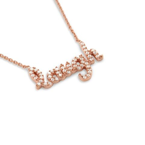"""ROSE GOLD PLATED CZ LAUGH NECKLACE 16""""+1"""" ADJUSTABLE"""