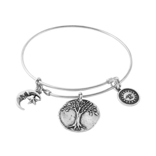 STERLING SILVER EXPANDABLE BANGLE WITH TREE, SUN, AND MOON+STAR CHARMS