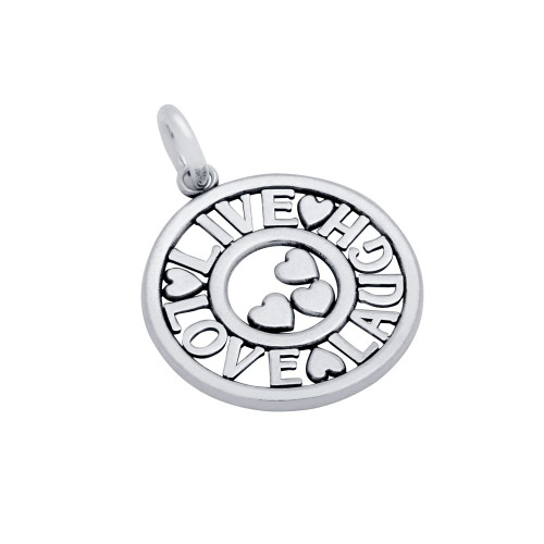 "STERLING SILVER 20MM ROUND ""LIVE LOVE LAUGH"" HEARTS CHARM"