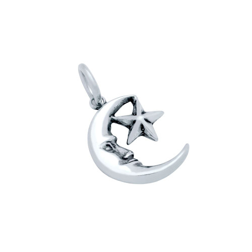 STERLING SILVER CRESCENT MOON AND STAR CHARM